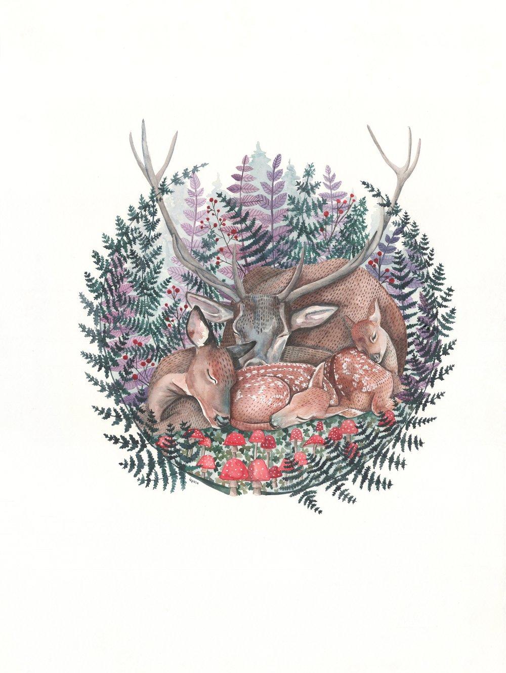 Deer family watercolor | ampersandmother.com