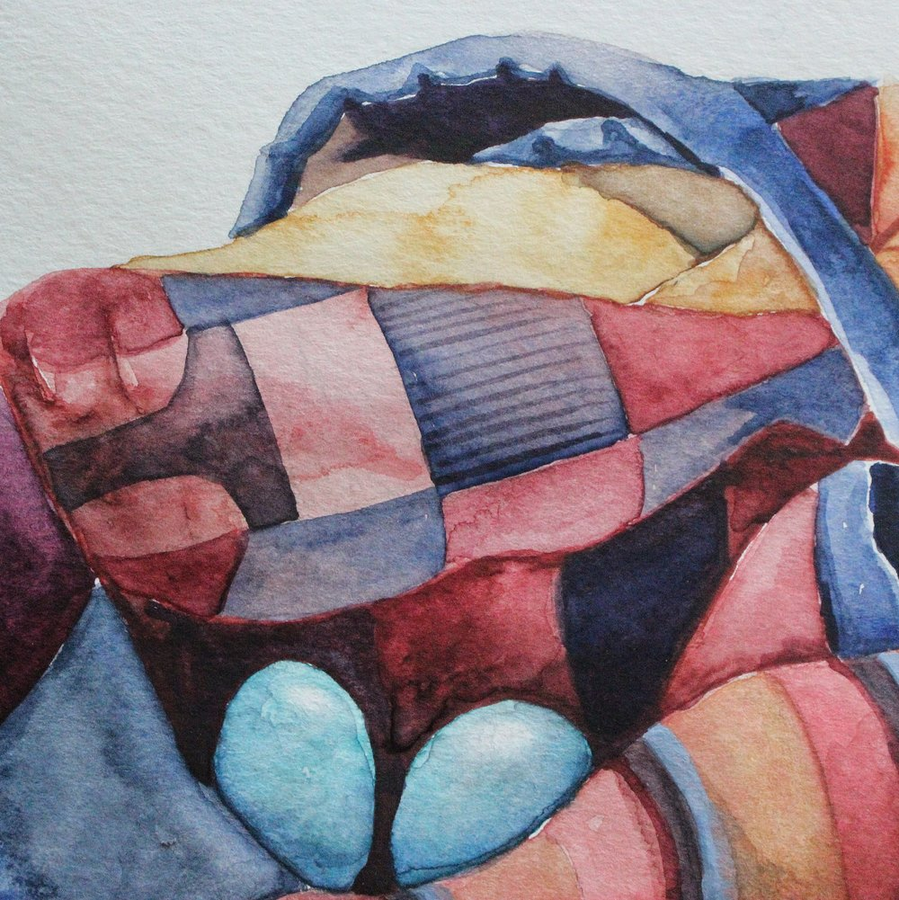 Hidden paintbrush in quilt