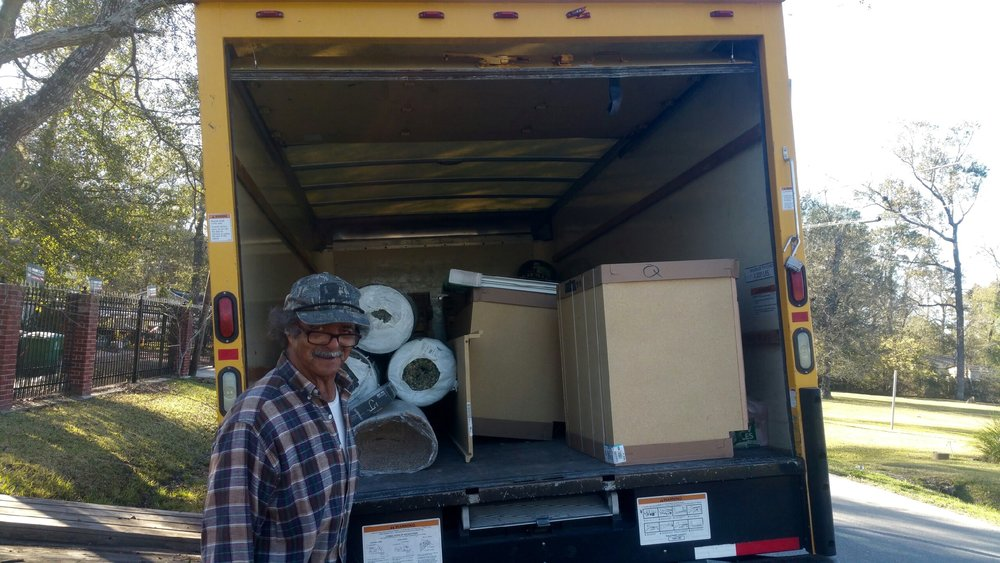 A  Mission Centers of Houston Truck with Pierre's Building Supplies