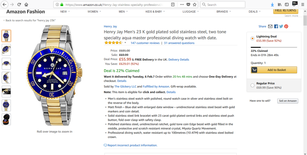 90% DISCOUNT!! 100% GUARANTEED AUTHENTIC HENRY JAY WATCH