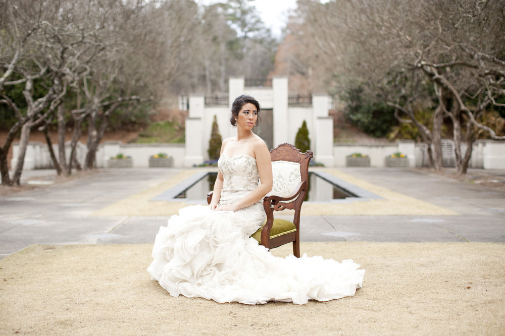 Garden Bridal Portraits at Birmingham Botanical Gardens by Courtney Sample Photography