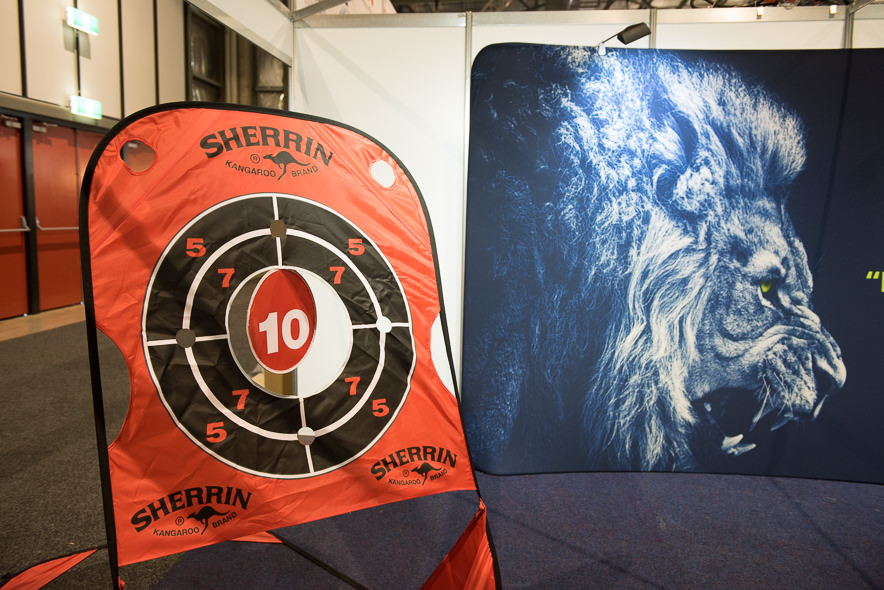 The SMIB lion looking over target practice at Visual Impact 2017.