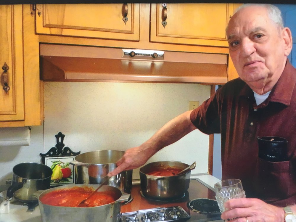 "Anthony ""Tony"" Ticheli in his element making his authentic Italian pizza sauce,   the recipe we use on all of our pizzas."