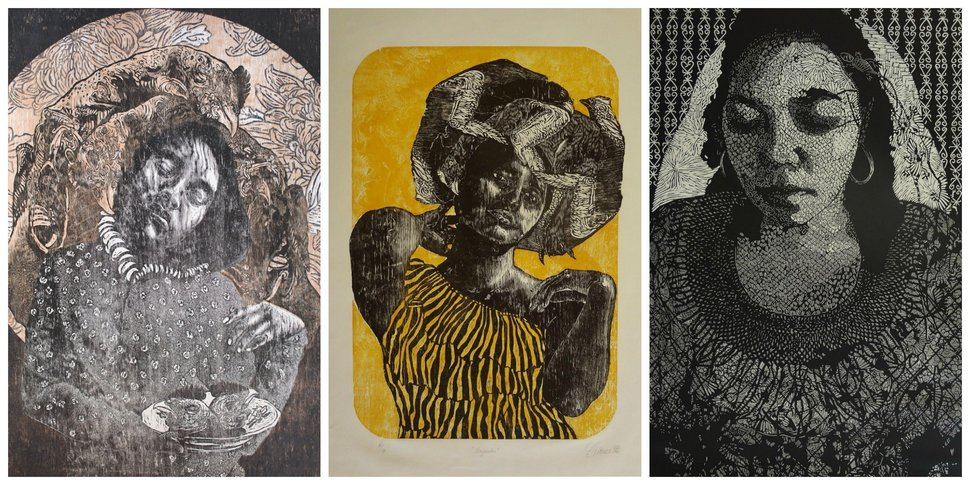 "Huffington Post Review:    03/25/2016 09:17 am ET Updated Mar 25, 2016   These Prints Made By Mexican Women Artists Are Hauntingly Beautiful   Although they explore different realms — politics, domesticity, identity, race and gender — the women are all united by their medium.  By Maddie Crum  In a print created by artist Edith Chávez, a girl stands in a floral dress, surrounded by petals and feathers. At first glance, the image is a dainty portrait of girlhood, rendered in warm pink and soft grey. But, the girl's expression is mournful. And, on closer look, you notice the cause for her concern: she's holding a plate of severed chicken heads.  It's a jarring realization that throws the pains of domestic duties into relief. Womanhood and the traditional tasks attached to it aren't all rosy, Chávez says through her work. They can also be gritty, and anxiety-making.  Chávez is one artist highlighted in an exhibit of women printmakers from Mexico on display at the Highpoint Center for Printmaking, titled ""Sus Voces"" and curated by Maria Cristina Tavera. Like the others in the collection, she focuses directly on themes of femininity in her work, and currently lives or works in Mexico.  Although they explore different realms — politics, domesticity, identity, race and gender — the women are all united by their medium. They each use lithography or primary relief to make their etched-like, earthy-looking prints.  Contrasting Chávez's work are the prints of Daniela Ramirez whose themes are more fantastical than gritty. A human with a winged creature for a head depicts a convergence of the man-made world and the natural world. Adding another aesthetic altogether to the collection, Diana Morales Galicia's abstract, chaotic prints generate a feeling of unease.  See Chávez's geometric prints, along with other works by women from Mexico:"