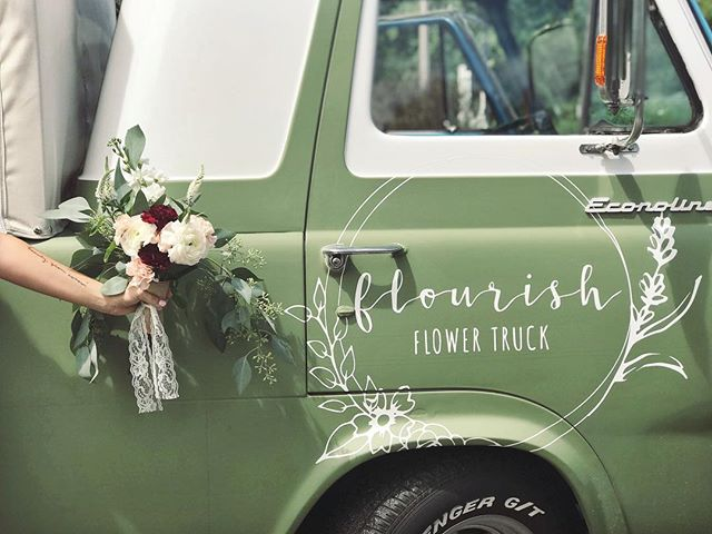 """Celebrate every tiny victory."" // We had another first this week and we think it's worth celebrating! We took this cute little truck to its first wedding and it was so sweet. The bride and her bridesmaids picked out their own bouquets and decorated tables out of the truck. Loving this photo from the bride. Thanks for letting us be a part of your day @kaci_jackson03 💕 We are forever grateful."