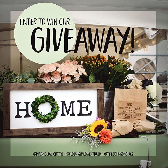 🌸🌿 g i v e a w a y 🌿🌸 We are excited to team up with our friends at Magnolia Light Handlettering and Merry & Bright to give away some fun gifts to one of our followers! • A custom hand-built HOME sign with a preserved boxwood wreath from Magnolia Light • A $15 credit to build your own bouquet with us • A $25 gift card to Merry & Bright . . Here's how to enter    ✖️Follow @magnolialighttn, @flourishflowertruck, and @thejohnsongirls ✖️LIKE this photo and tag 3 friends in the comments (more tags=more entries) ✖️BONUS ENTRY: Share this post to your story and tag all three shops! . . Winner will be announced Wednesday, August 15th 💕 . . This giveaway is in no way sponsored by Instagram, Inc.