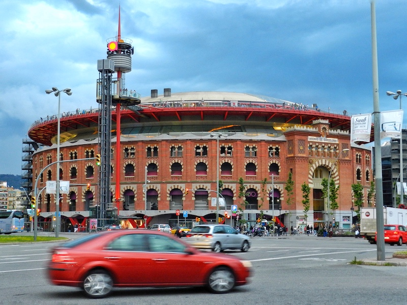 This is the Arena de Barcelona, an old bullfighting ring that has been turned into a shopping, dining & entertainment center