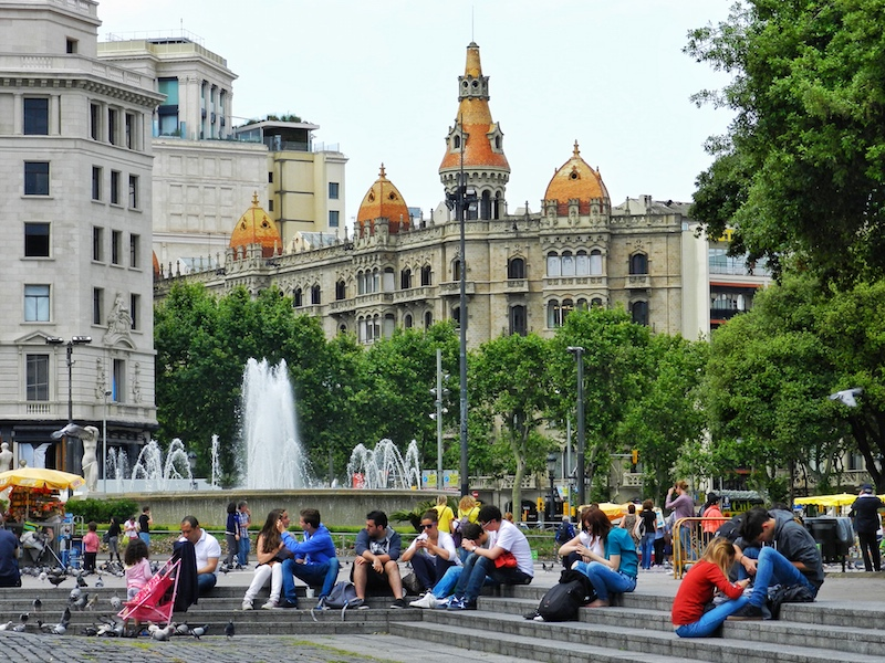 Plaça de Catalunya, a large square in the middle of the city at the head of Las Ramblas