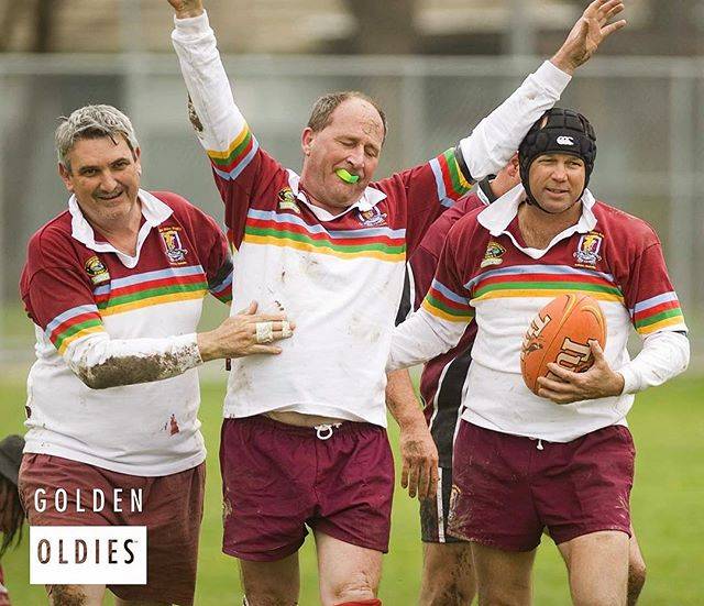 That feeling when the final whistle is blown.  We all have that team mate who surprises you every time they make it through a full game....! #goldenoldiesrugby