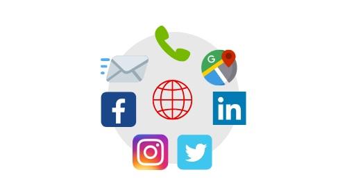 Contacto directo a su email y teléfono. Enlaces a todas sus redes sociales y página(s) web. Dirección enlazada a Google Maps.