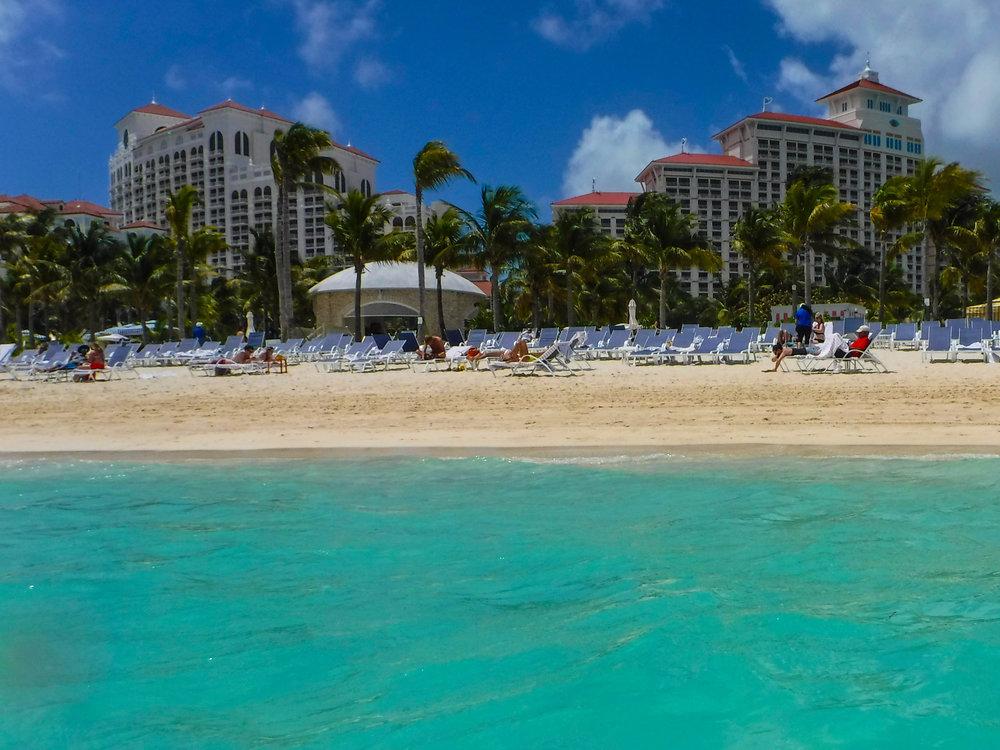 The beautiful Baha Mar resort from the crystal clear caribbean sea.
