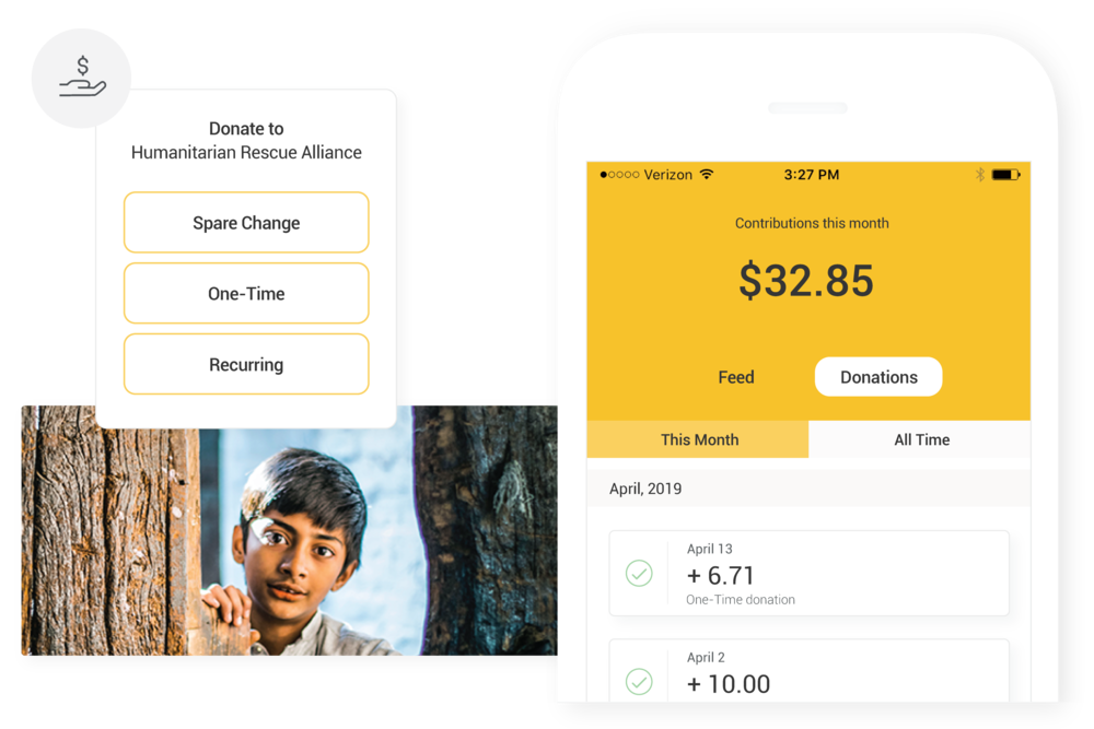 Collect Donations with a Mobile App - Offer donors a unique experience with your own branded iOS and Android apps. Donors can give one-time, recurring and spare change donations, review their giving history and edit their profile and payment settings.