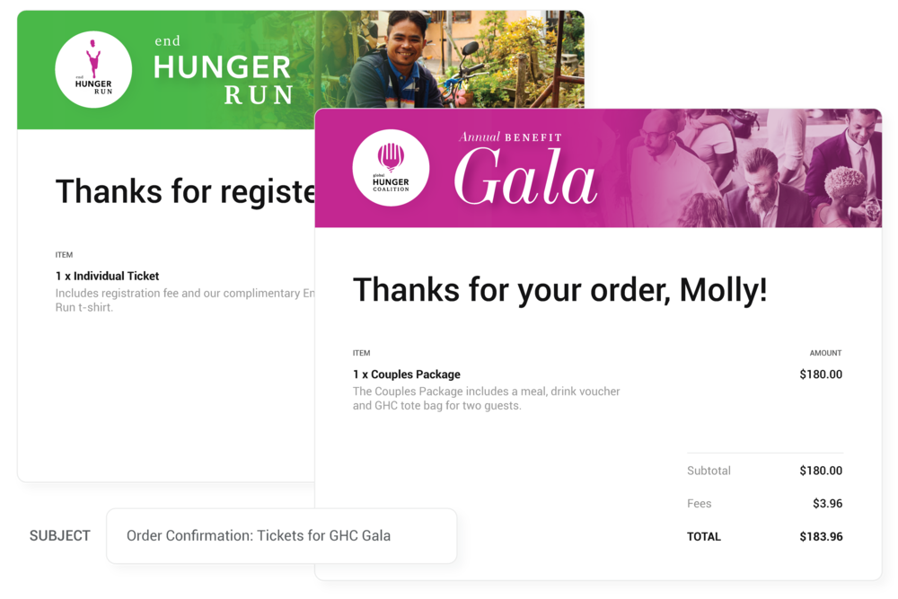 Automatic Email Confirmations - Your guests will automatically receive an emailed receipt for their purchase. Customize the look to match your brand or event's unique design.