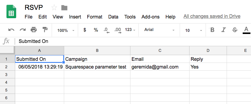 Response can also be recorded in a Google sheet (GSuite)
