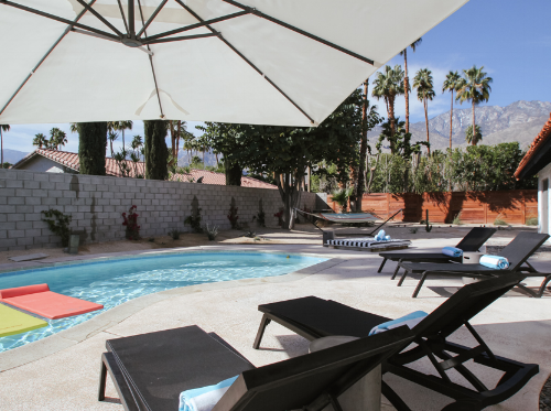 This  Palm Springs vacation rental  can be outfitted with safety fencing around the pool and hot tub for baby and toddler safety.