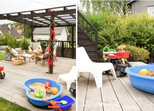 Backyard with toddler toys in  Oslo, Norway vacation rental , available on Kid & Coe.