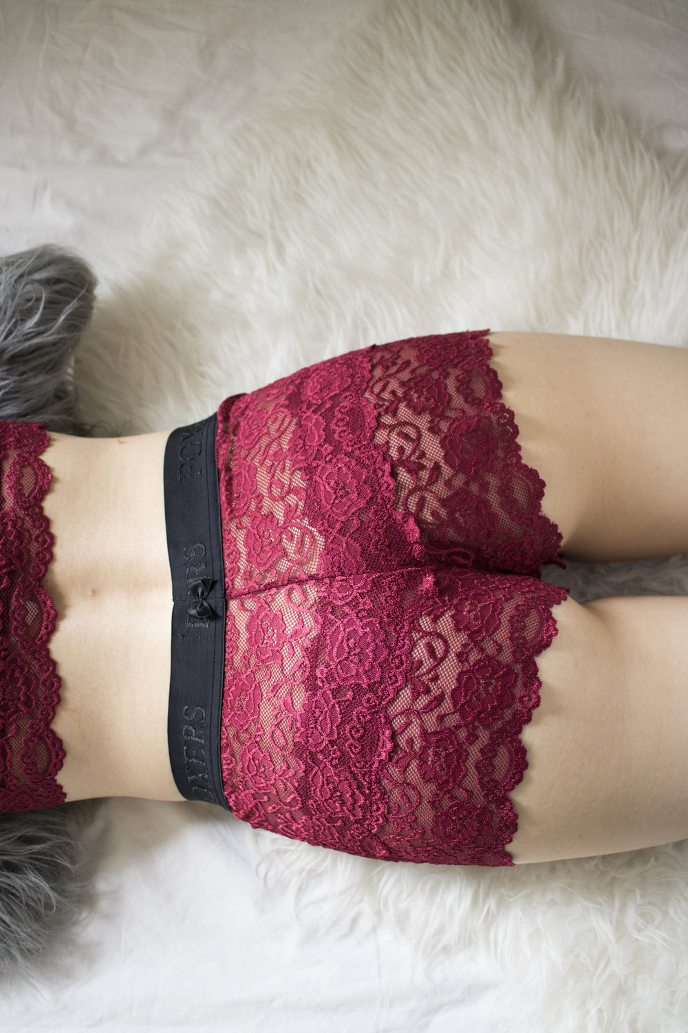 Black Cherry Lace Boxers with Flat Band ( $32 )