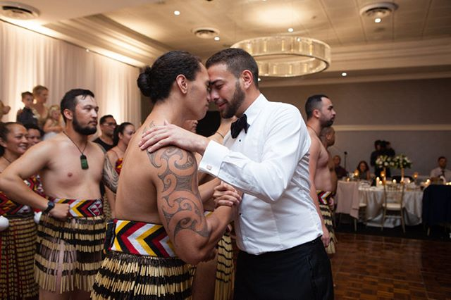Greeting of touching foreheads and noses together allowing one to share the same breath is called the Hongi. It is a way of seeing each other on a soul level, seeing each other as equal.  #haka #weddinghaka #weddingtraditions #ukweddingphotographer #suffolkwedding #groominspiration #traditionalhaka #maori #maoritattoo