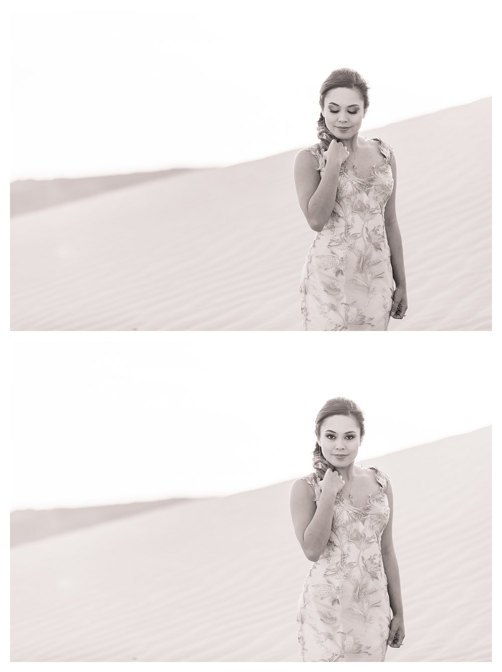 Sand Dunes Bridal Shoot B&W Black and White Photography