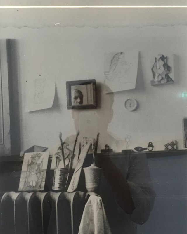 Self portrait in reflection of self portrait of Picasso in his studio in his museum. #meta