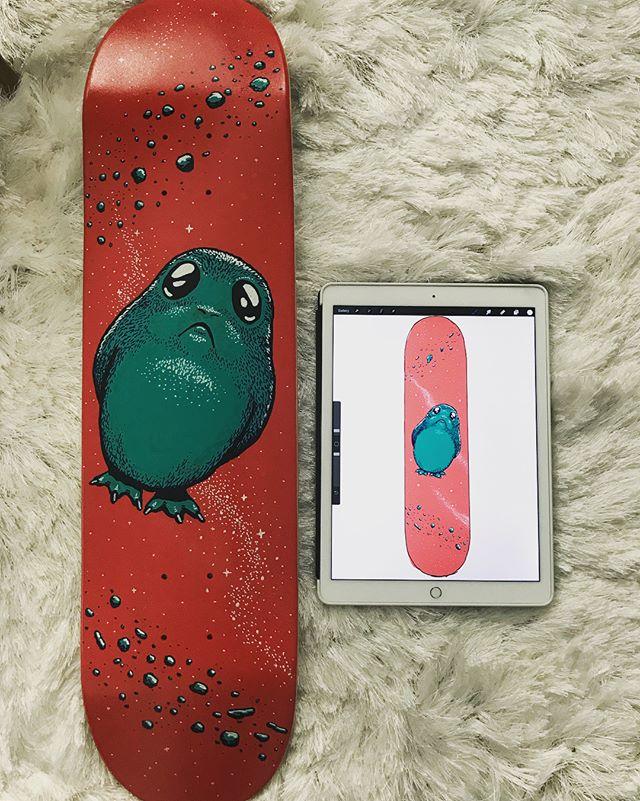 OMG Gabby made me a #skateporg deck YESSSSSSS #handpainted