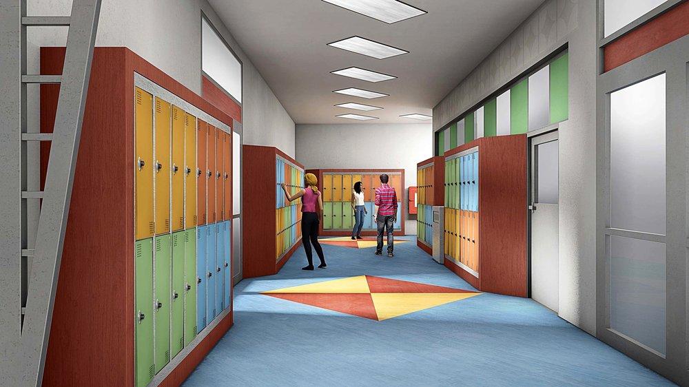 Summer Cove High School - School Corridor - Concept Art