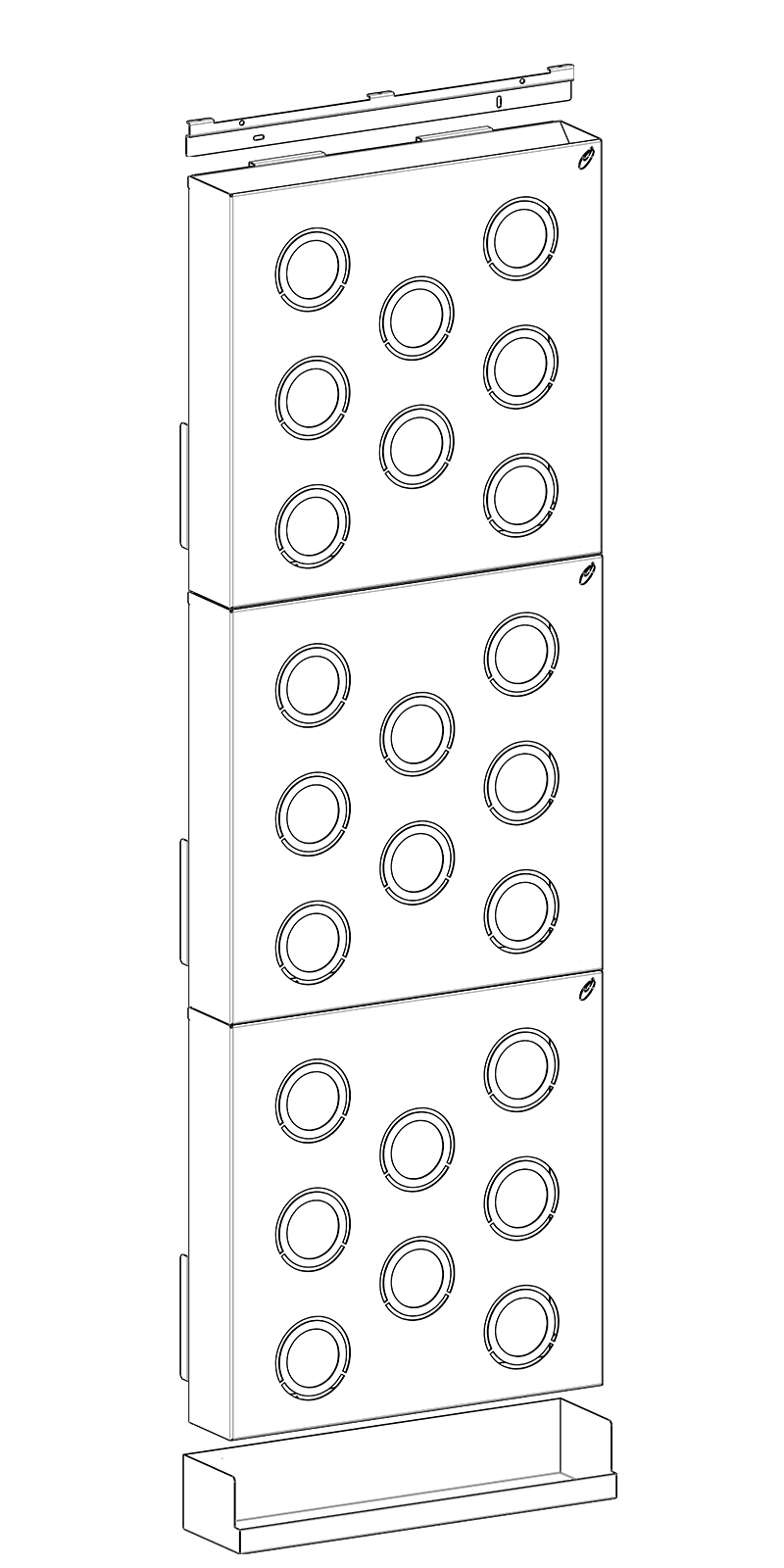 Tre HUB in verticale piùvaschetta larga 50,4 cm.