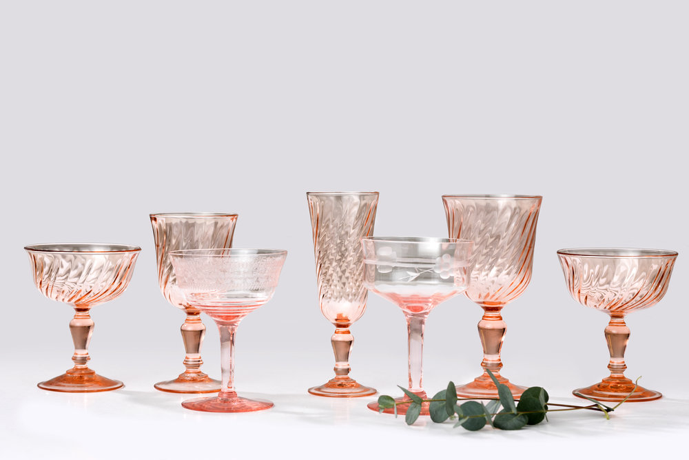 Rosa glass fra Frankrike, fra ca 1920
