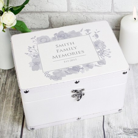 This stunning Soft Watercolour White Keepsake Box is a perfect way of storing precious mementos.The box has a leather effect finish and features metal studs along the edging with a metal clasp lock. The interior of the box is lined with a soft fabric.  The box can be used to store photographs, greetings cards and other small keepsakes. It's ideal for storing mementos from a Wedding Day, special birthday, anniversary or even a memorable holiday. #memories #photography #keepsake #gift #birthday #weddingpresent
