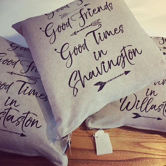 Loving our new feather filled cushions with local village names on! #local #shavington #insideparadisenantwich #interior #gift #unique
