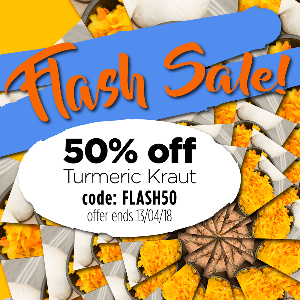 50% off all orders of  Turmeric Kraut , this week only, ends 13/04/18. Just use code: FLASH50 at checkout and get the discount!