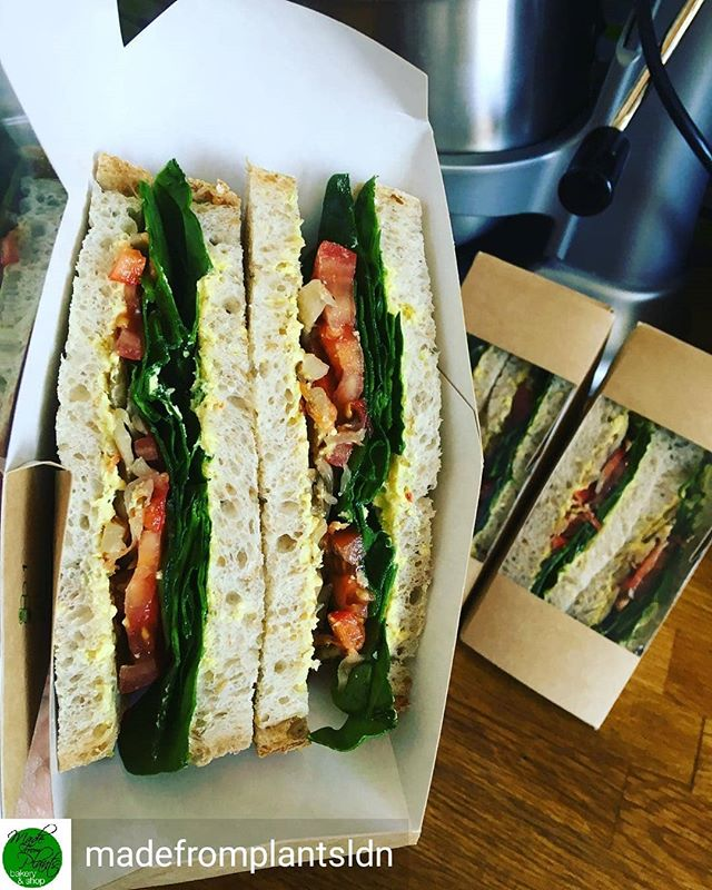 Reposted from @madefromplantsldn -  #sandwiches! With @palaceculture yellow chilli cashew cheese & @terraferment curtido 'slaw', spinach, tomatoes & peppers on homemade #bread #vegan 💚