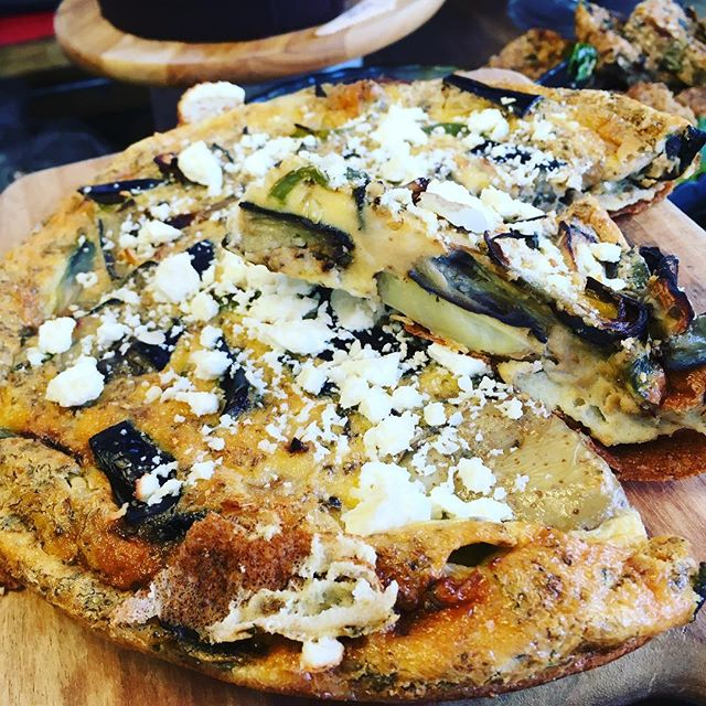 Todays Frittata! Roasted Aubergine, Pepper and Feta! Have it's with TWO fresh salads from the counter for £6! #delicious #lunchgrub #sunshinefuntime #local #veggies