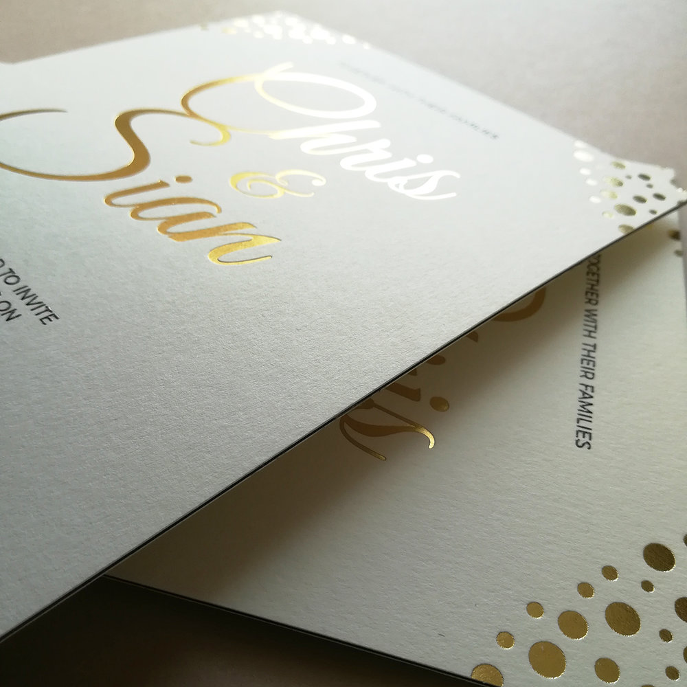 FOILED FINISHES   Make your big day shine with our unique and luxury foiling options & choose a colour for a day that glitters before it's even begun!