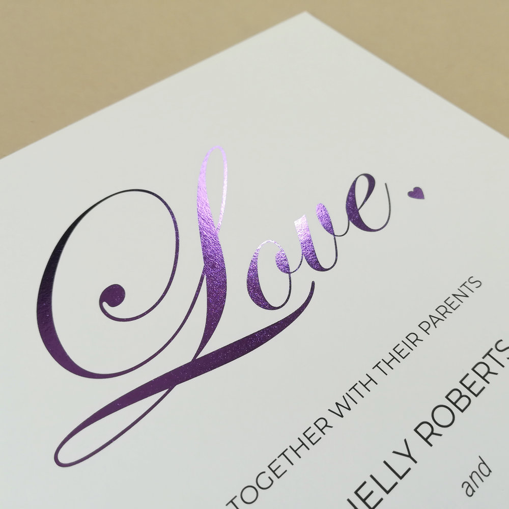 #Shelly - Printed with Purple Foil on Uncoated Paper