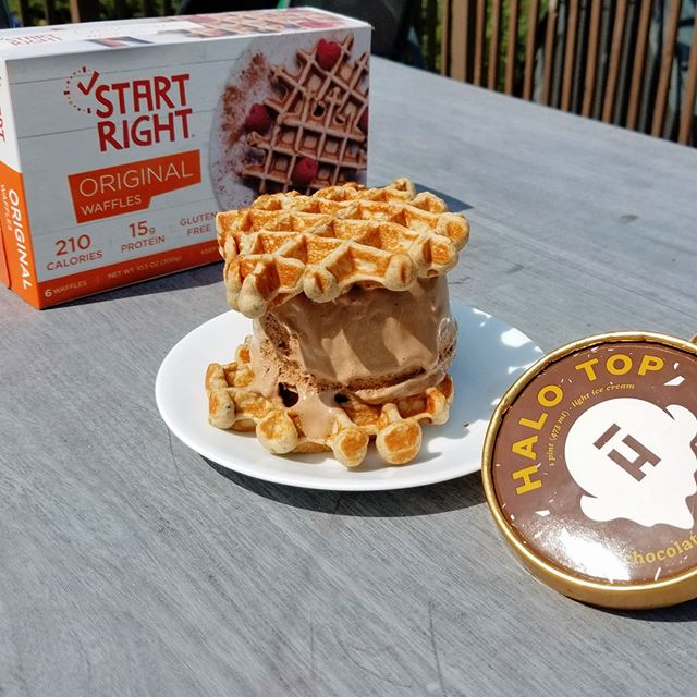 "Happy National Ice-Cream Day! Check out our Facebook page for some different ways to pair ice-cream and waffles, and see the rules for our ""Waffles A La Mode"" Competition for a chance to win some FREE ICE-CREAM! • • • #startright #highproteinwaffles #highprotein #glutenfree #gfwaffles #glutenfreeliving #glutenfreelife #glutenfreestl #toasterwaffles #wafflebuns #wafflesliders #breakfast #healthybreakfast #healthyeats #bfhealth #eeeeats #convenient #healthylifestyle #nationalicecreamday #icecream #icecreamsandwich #highproteinlowcarb #alamode #competition #free-icecream"