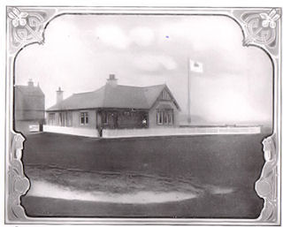 The photograph shows the original Burgh Golf Club House around 1920.