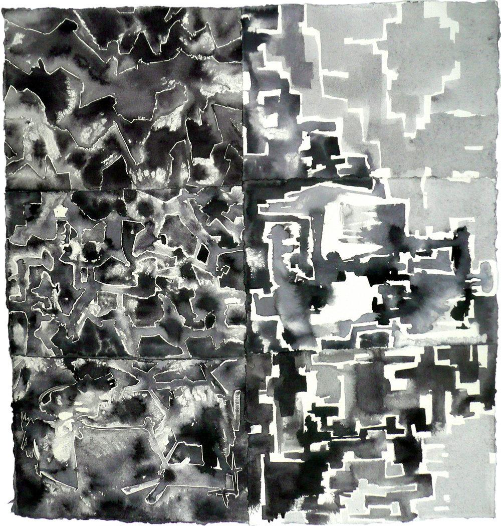 Spatio/Crypto, encre, collage, 89 x 86 cm