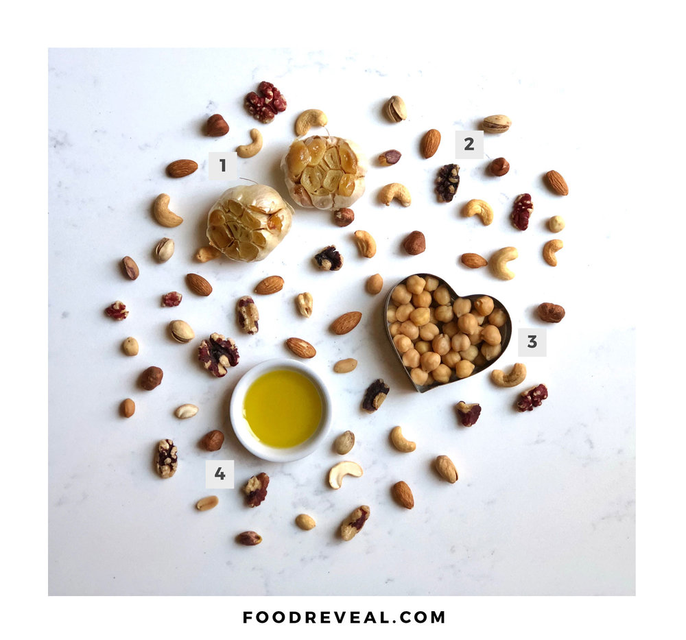 1. Garlic | 2. Nuts (all kinds) | 3. Garbanzo Beans (chickpeas) | 4. Extra Virgin Olive Oil (EVOO)