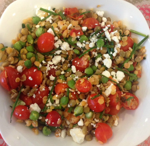 Green Garbanzo Beans, Lentils and Veggies - From Melissa Halas-Liang at Melissa's Healthy Living