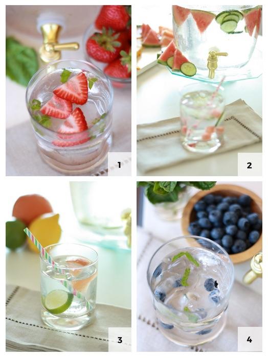 1. Strawberries + Basil 2. Watermelon + Cucumber  3. Grapefruit + Lemon + Lime 4. Blueberry + Mint