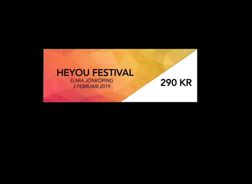 """Festival (lördagen den 2 februari 12:00-18:00.) - Heyou Festival är ett ungdomsevenemang som handlar om sociala medier. På evenemanget finns Sveriges största och mest efterfrågade kreatörer och influencers. Här kan barn och ungdomar träffa och göra roliga saker tillsammans med sina idoler som dom dagligen följer på sociala medier, t.ex Youtube, Instagram TikTok/ Musically eller liknande. Medföljande föräldrar ges möjlighet till ökad kunskap om sina barns intresse av sociala medier.Heldag med dina idolerPriset är inklusive 6% moms.Barn födda 2013 eller senare kan följa med sina föräldrar in utan avgift och någon biljett behövs inte. (OBS: Gäller ej Heyou Award)Biljetter säljs även i entrén i mån av plats.Förälder med biljett """"Parents Festival"""" eller """"Parents Gold"""" har även tillträde till Creator Academy.Entrén öppnar klockan 12:00"""