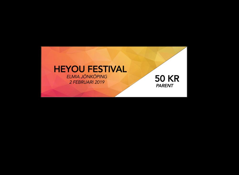 """Festival - Parent (lördagen den 2 februari 12:00-18:00.) - Heyou Festival är ett ungdomsevenemang som handlar om sociala medier. På evenemanget finns Sveriges största och mest efterfrågade kreatörer och influencers. Här kan barn och ungdomar träffa och göra roliga saker tillsammans med sina idoler som dom dagligen följer på sociala medier, t.ex Youtube, Instagram TikTok/ Musically eller liknande. Medföljande föräldrar ges möjlighet till ökad kunskap om sina barns intresse av sociala medier.Heldag med dina idolerPriset är inklusive 6% moms.Barn födda 2013 eller senare kan följa med sina föräldrar in utan avgift och någon biljett behövs inte. (OBS: Gäller ej Heyou Award)Biljetter säljs även i entrén i mån av plats.Förälder med biljett """"Parents Festival"""" eller """"Parents Gold"""" har även tillträde till Creator Academy.Entrén öppnar klockan 12:00"""