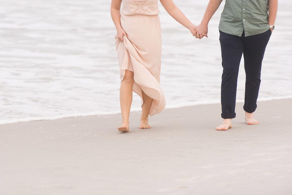 Engaged Couple Holding Hands Walking Barefoot on Beach  |  Hawaii Engagement Photos  |  Life & Art Photography  |  Destination Wedding Photographer
