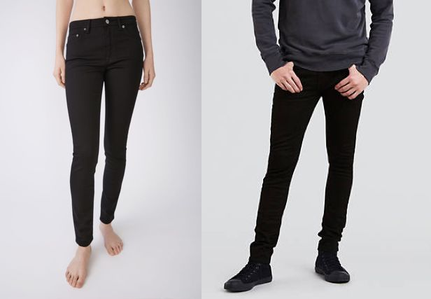 [Left] Acne Studios Ladies Climb Stay-Black Jeans:  retail: $220   Source: Acne Studios  [Right] Alternative - Levi's Extreme Skinny Fit Stretch Jeans:  retail - $69.50   Source: Levi's