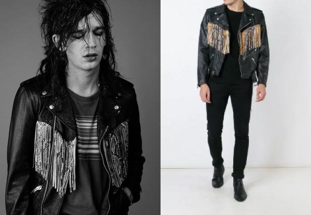 Healy channeling his inner Robert Smith w/ a Saint Laurent fringed biker jacket (left), The same jacket in color (right)  Sources: Popbuzz and Farfetch, respectively