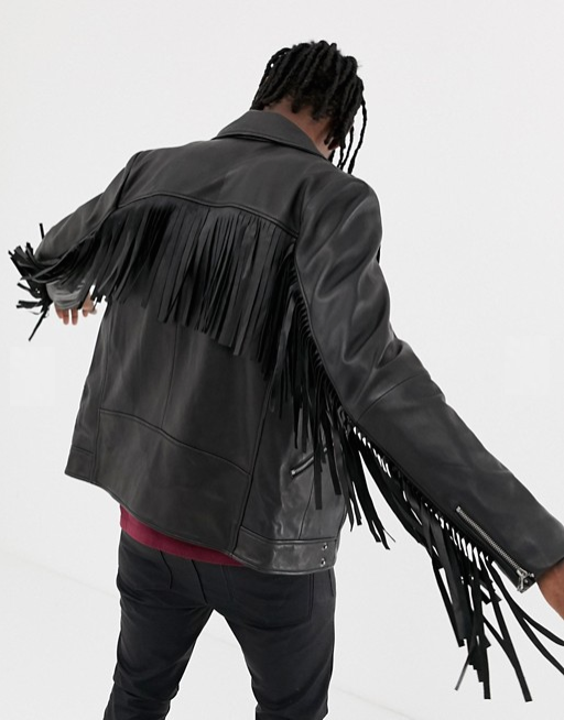ASOS Design Black Leather Jacket w/ Tassel Detail:  retail $190   Source: ASOS