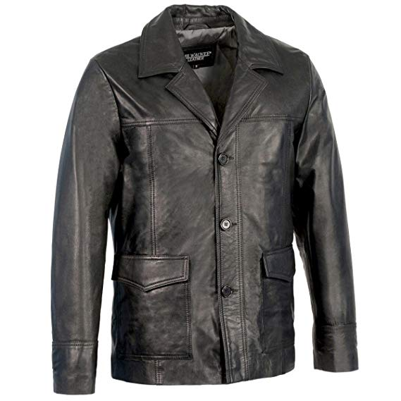 Milwaukee Leather Men's Button Front Leather Coat  Source: Amazon