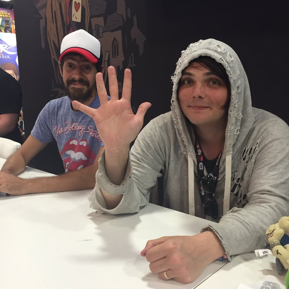 Gerard (and his Umbrella Academy artist Gabriel Ba) at San Diego Comic Con 2016  Source: Alternative Press