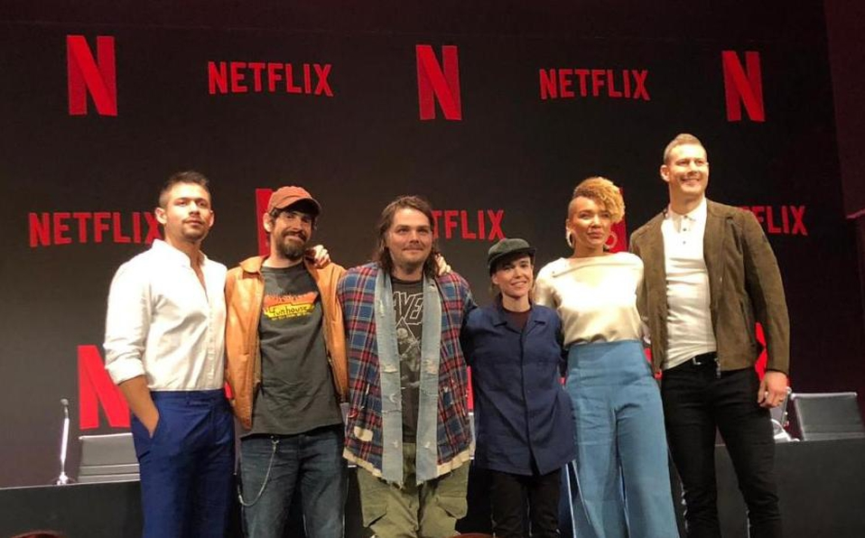 Gerard with the cast and crew of Netflix's The Umbrella Academy  Source: The Umbrella Academy on Twitter (@TUANetflix)